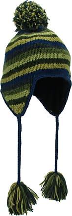 Loud Elephant Wool Knit Earflap Bobble Hat - Stripe Blue Green