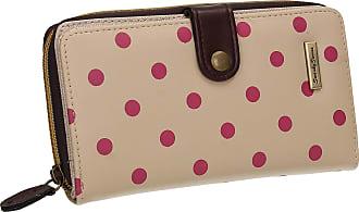 Swankyswans Becky Classic Polka Dot Faux Leather Womens Bi-fold Long Wallet Clutch Purse Cream Beige Purple