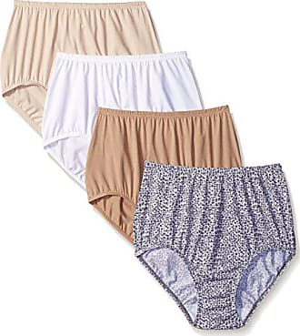 Warner's Womens 4 Pack Without A Stitch Brief, White/Warm Taupe/Butterscotch/Grey Graphite Animal, 6
