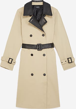 The Kooples Mid-length beige cotton trench w/leather - WOMEN