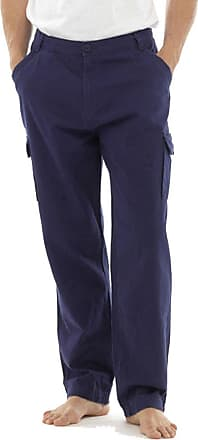 Tom Franks Mens Plain Print Summer Cotton Twill Outdoor Cargo Trousers - Navy - 2XL