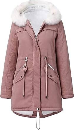 VITryst Womens Drawstring Fur Hooded Zipper Long Coat Casual Warm Outwear Jackets Overcoats Tops,Pink,X-Large