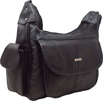 Quenchy London Italian Leather Ladies Handbag Black Soft Leather Shoulder Bag 7473