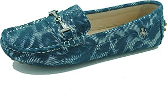MGM-Joymod Ladies Womens Casual Slip-on Metal Buckle Green Leopard Leather Walking Driving Loafers Flats Moccasins Hiking Shoes 4.5 M UK