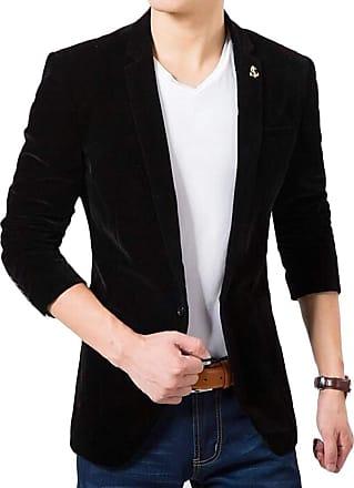 H&E Mens Sport Coat One Button Velvet Casual Lapel Blazer Suit Jacket Black Small