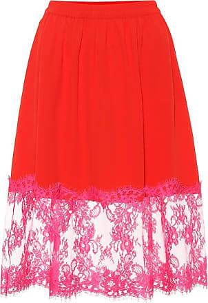 Msgm Lace-trimmed crêpe skirt