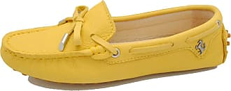 MGM-Joymod Womens Fashion Comfortable Leather Bowknot Driving Outdoor Walking Leisure Breathable Loafers Flats Boat Shoes 4.5 M UK Yellow