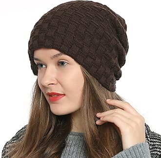 DonDon Womens Winter Beanie Slouch Style with Very Soft Inner Lining - Brown