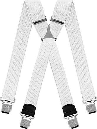 Decalen Mens braces wide adjustable and elastic suspenders X shape with a very strong clips Heavy duty (White)