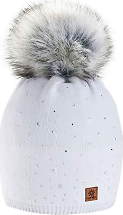 Damen Mütze in Weiss mit Fell