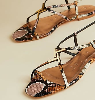 Ted Baker Leather Snake Effect Sandals in Pink LERINAS, Womens Accessories