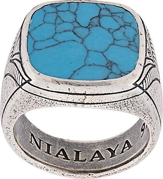 Nialaya engraved onyx ring - SILVER