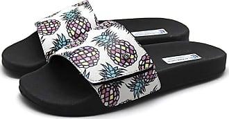 La Faire Chinelo Slide Tira em Velcro La Faire Abacaxi Fruit (43/44, Sola Preta)