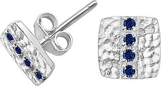 Dower & Hall Blue Sapphire Square Lumiere Studs