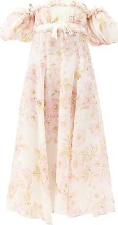 Giambattista Valli Puff-sleeved Floral-print Georgette Gown - Womens - Beige Print