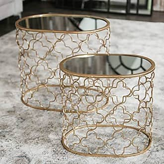 Urban Trends Collection Urban Trends Oval Nesting Accent Table with Mirror Top and Quatrefoil Design Body Set of Two Metallic Finish Gold