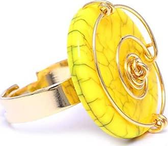 Tinna Jewelry Anel Dourado Espiral Com Medalha Em Resina (Amarelo)