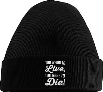 HippoWarehouse Too Weird to Live Too Rare to Die Embroidered Beanie Hat Black