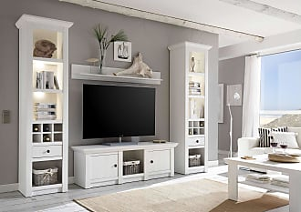 Stylefy Liliann Wohnwand Weiß mit LED-Beleuchtung