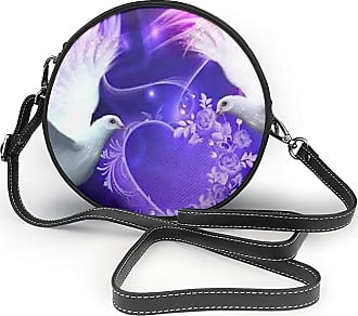 Turfed Two White Pgeons Print Round Crossbody Bags Women Shoulder Bag Adjustable PU Leather Chain Strap and Top Zipper Small Handbag Handle Tote