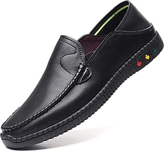 LanFengeu Men Leather Loafers Soft Breathable Round Toe Flats Driving Moccasins Business Office Slip on Casual Shoes Black