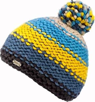 KuSan 100% Wool Moss Yarn Bobble Hat PK1834 (Yellow/Blue)