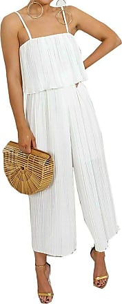 Top Fashion18 Ladies Chiffon Frill Strappy Crinkle Festival Pleated Jumpsuit Culotte Dress Size 8-14 White