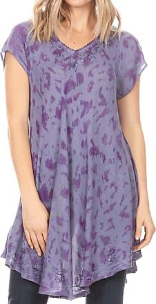 Sakkas 19226 - Xoana Womens Casual Cap Sleeve V-Neck Flare Loose Boho Swing Short Dress - Purple - OSP