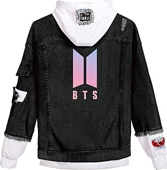 OLIPHEE Womens Casual Denim Jacket Button Splicing Hooded Fangirls Kpop BTS Persona Bangtan Boys Loveyourself Suga Jin Jung Kook RM J-Hope Jimin V BTS Logo Bl