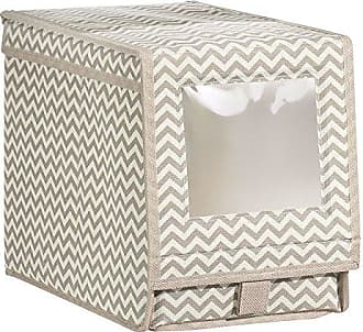InterDesign Axis Fabric Storage Box for Shoes, Boots and Pumps with a Clear Window and Pull Tab Closure for Closet Storage - Medium, Taupe/Natural