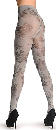 Liss Kiss Metallic Silver With Black Woven Roses 60 Den - Grey Floral Tights