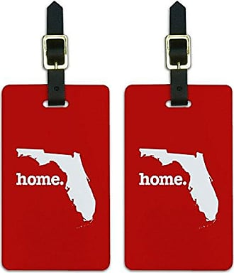Graphics & More Graphics & More Florida Fl Home State Luggage Suitcase Id Tags-Solid Red, White