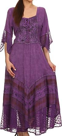 Sakkas 15224 - Bexley Scoop Neck Bell Sleeve Bohemian Gypsy Embroidered Corset Dress - Purple - S/M