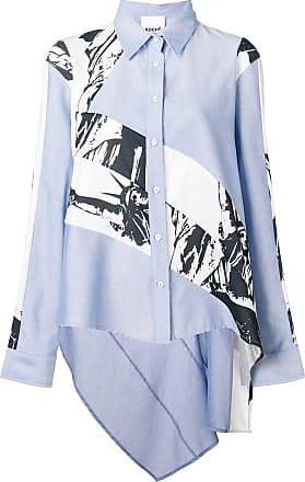 Koché Camisa assimétrica com patchwork - Azul
