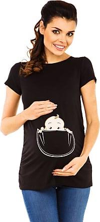 Zeta Ville Zeta Ville - Womens Maternity T-Shirt Shirt Top Funny Baby Peeking Print - 501c (Black, UK 18/20, 3XL)
