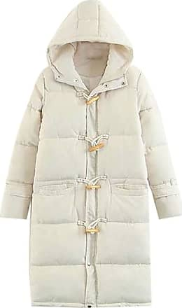 VITryst Womens Casual with Hood Horn Buckle Thickened Long Sleeve Down Long Overcoats Jacket Tops,White,X-Large