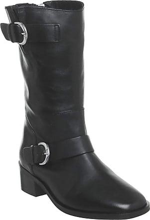 Office Kick- Calf Biker Boot Black Leather - 7 UK
