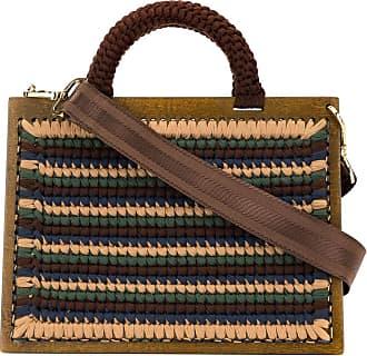 0711 Striped XL St. Barts bag - Brown