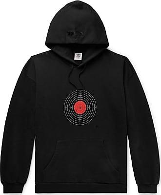 VETEMENTS Distressed Printed Loopback Cotton-blend Jersey Hoodie - Black