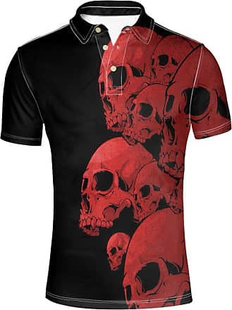 Hugs Idea Fashion Skull Mens Golf Sport Shirt Casual Short Sleeve T-Shirt
