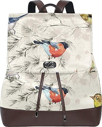 Ahomy Ladies Fashion PU Leather Backpack Retro Watercolor Tree Branches Flowers Bird Anti-Theft Rucksack Shoulder Bag