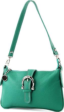 modamoda.de Italian handbag shoulder bag tote bag messenger bag real leather bag T05, Colour:aquamarine