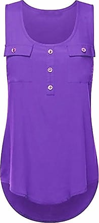 Kobay Womens Casual T-Shirt Ladies O-Neck Sexy Sleeveless Vest Loose Tank Tops Plus Size Summer Purple