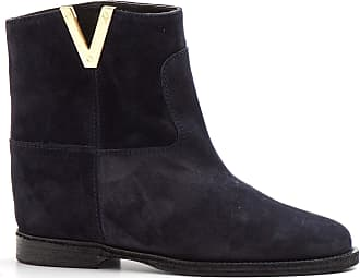 Via Roma 15 Blue Suede Ankle Boots with Inner Wedge - 2576 Velour - Size Blue Size: 5.5 UK
