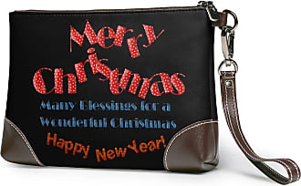 GLGFashion Womens Leather Wristlet Clutch Wallet Merry Christmas Storage Purse With Strap Zipper Pouch