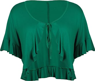 Purple Hanger Womens Short Sleeve Ladies Stretch Frill Front Neck Tie Cropped Plain Cardigan Bolero Shrug Top Plus Size Jade Green 20-22