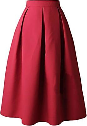 a8a25fe9a3bcb7 Elodiey Röcke Damen Sommer Faltenrock High Waist Einfarbig Uni-Farben  Vintage Rockabilly Rock Party Stil