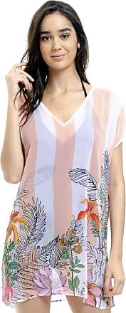 101 Resort Wear Blusa Tunica Decote V Crepe Fenda Lateral Flores Listrado Coral (M)