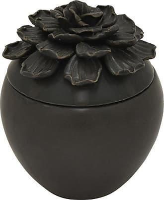 Three Hands 6.5 in. Porcelain Ceramic Black Decorative Flower Box - 73574