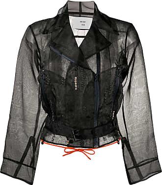 Quetsche belted waist sheer biker jacket - Black